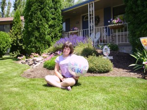 Hannah in the front yard